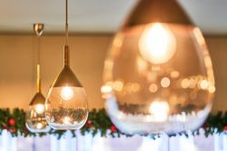 Lute ceiling pendants in restaurant