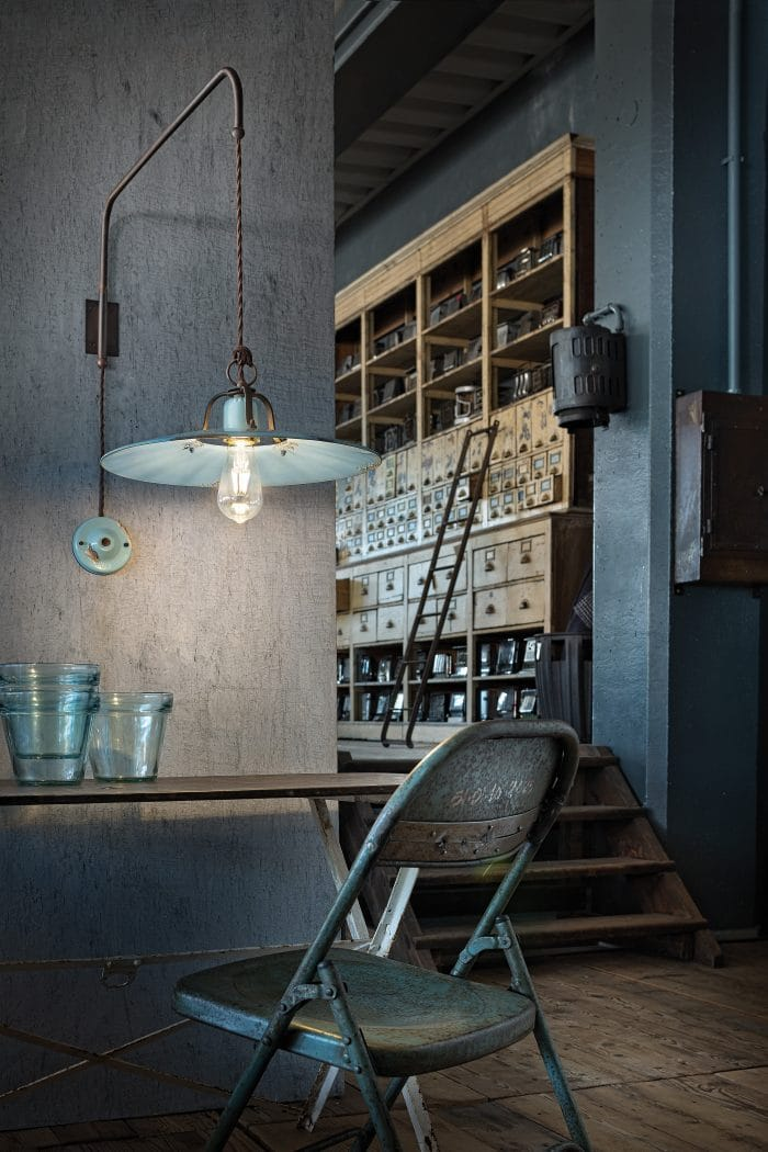 Saturno vintage swing wall lamp in vintage blue
