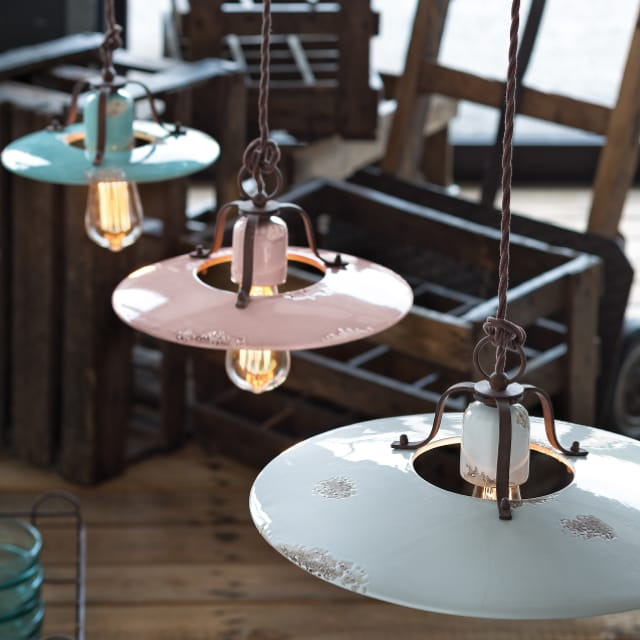 Picture showing Saturno vintage ceiling lights in vintage green, vintage pink and vintage blue.