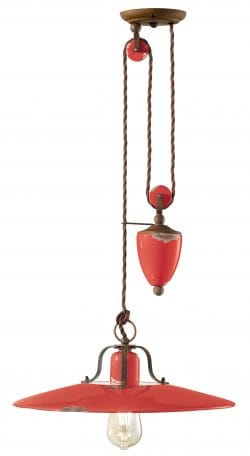 Saturno vintage rise and fall pendant light in vintage rosso