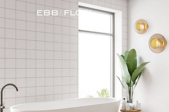 Ebb and Flow Lighting Horizon Ceiling/Wall lamps shown in white bathroom