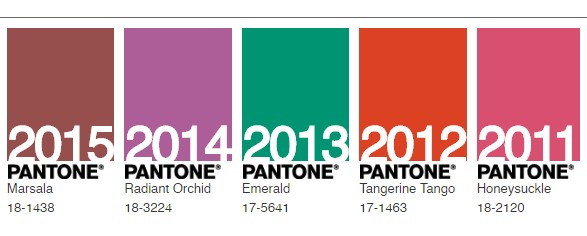 Past Pantone Colours of the Year 2011-2015