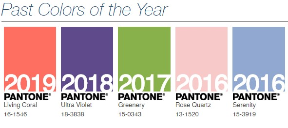 Past Pantone Colours of the Year 2016-2019