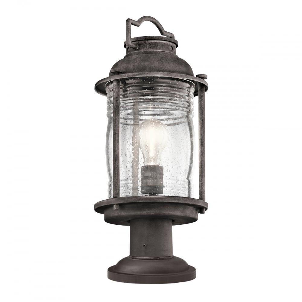 Kichler Ashland Bay Outdoor Pedestal Lantern Weathered