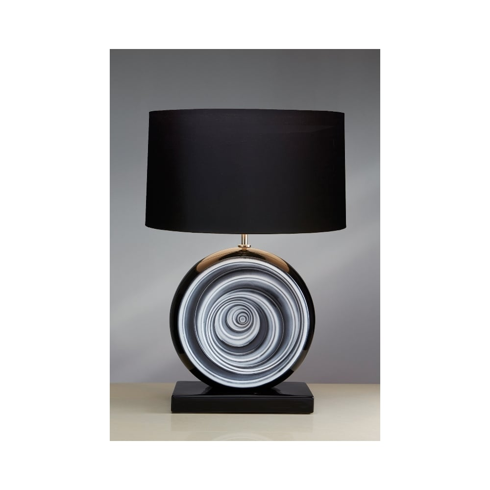 Luis collection glazed ceramic table lamp moonbeam black swirl glazed ceramic table lamp mozeypictures Images