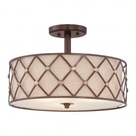 BROWN LATTICE Semi-Flush Ceiling Light