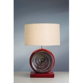 RED SWIRL Glazed Ceramic Table Lamp